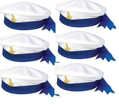 6X SAILOR's HAT MARINE NAVY SEAMAN MARINE CAPTAINS Ladies Men's Fancy Dress Hat](Sailor Hats Bulk)