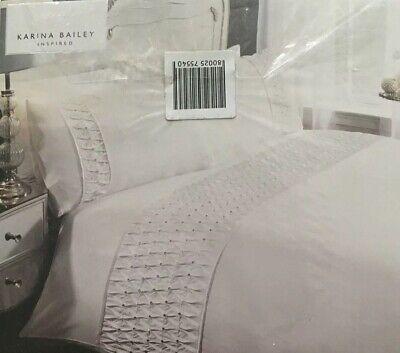 Karina Bailey | Ella | Rouched Diamanté Double Size Duvet Bedding Set | White