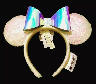 Disney Iridescent White Pink Sequin Minnie Mouse Ears Holograph Bow Headband NEW
