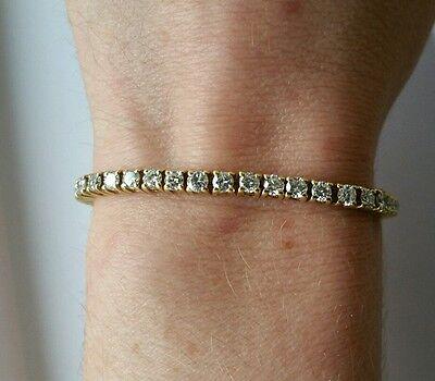 5 ct G SI2 round natural diamond 4 prong tennis bracelet 18k yellow gold 6.5