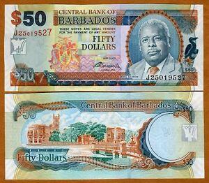 Barbados-50-dollars-1-5-2007-2009-signature-P-70-70b-UNC