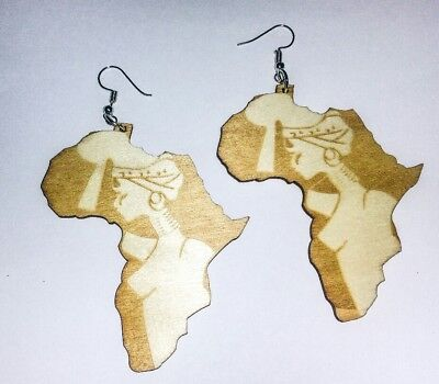 Africa Map Statement Beautiful Woman Art Stencil Wood Earrings