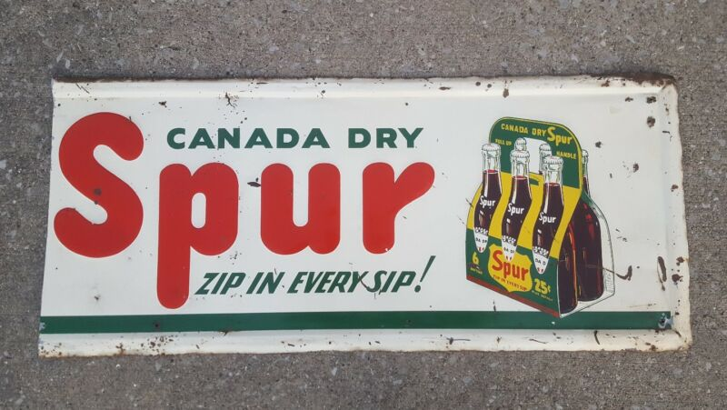 "Vintage 43"" Canada Dry Spur Six 6 Pack Metal Sign Soda Cola Drink Ginger Ale"