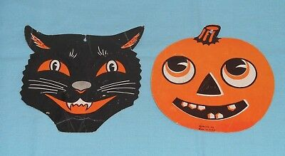 Vintage Halloween Cat Faces (vintage Halloween Beistle SMALL BLACK CAT & PUMPKIN JOL FACE decoration lot x2)