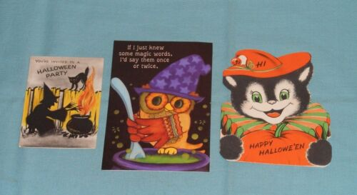 vintage HALLOWEEN GREETING CARDS & INVITATION LOT of 3 Hallmark Norcross