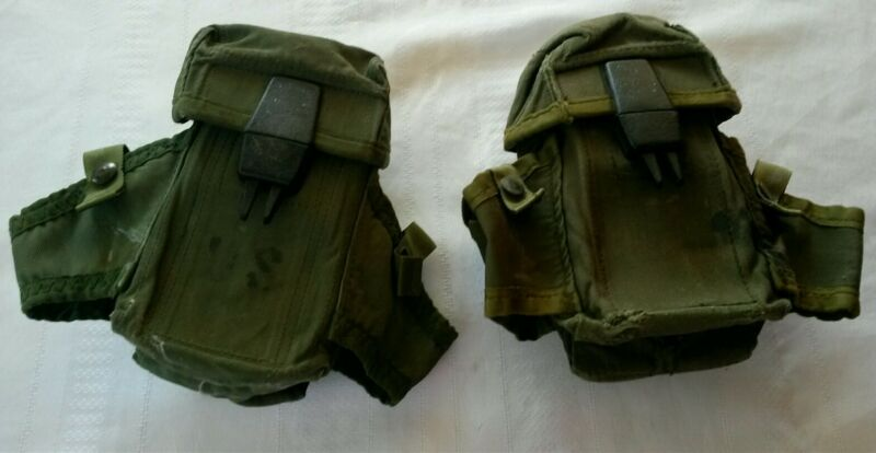 Vintage US MILITARY Nylon Belt Ammo Pouches 2, Closing Clasps Work Fine