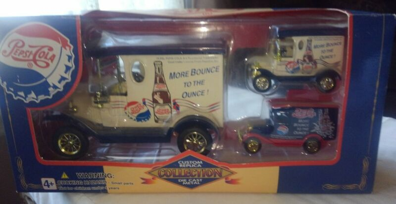 Vintage Golden Wheel Die Cast Pepsi Replica 3 Vehicle Collection w Coin Bank +