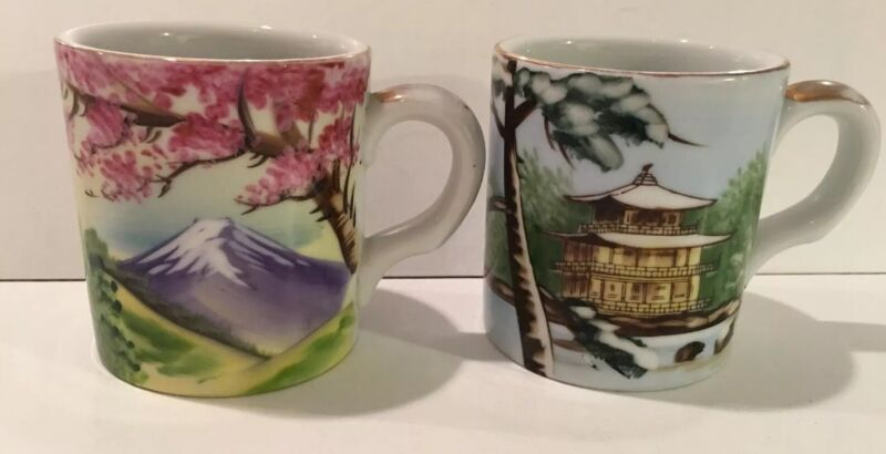 2 Kutani Vintage Hand Painted Japanese Mountain And Temple Scene Heavy Mugs