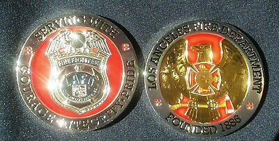 LAFD Los Angeles Fire Dept Firefighter Badge City Challenge Coin Collectible ](Firefighter Badge)