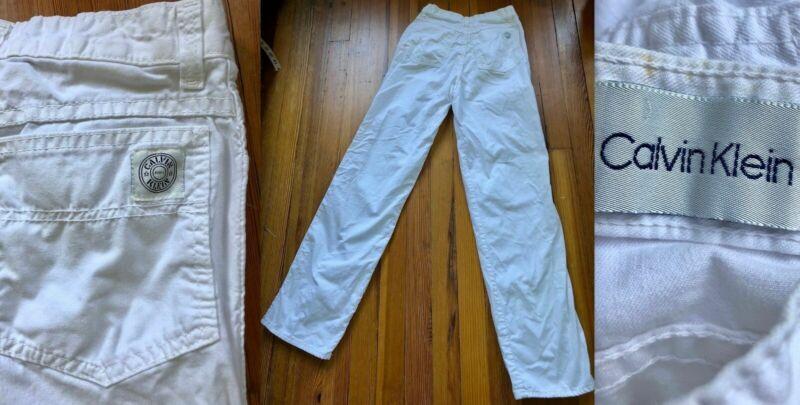 VTG 80s CALVIN KLEIN WHITE 100% COTTON JEANS HIGH WAIST STRAIGHT LEG 8 EUC