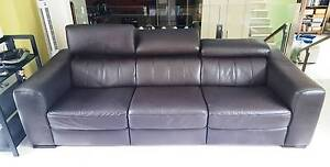 Dark brown high quality leather lounge Newport Pittwater Area Preview