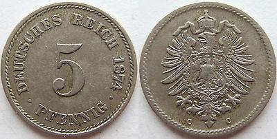 TOP! 5 Pf 1874 C in SEHR SCHÖN !!!