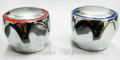 REPLACEMENT HOT & COLD TAP TOP HEAD COVERS CHROME PLATED