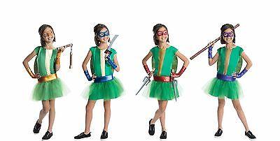 Ninja Turtles Girl Costumes (Girls Teenage Mutant Ninja Turtles Costume Fancy Dress Tutu Kids Child S M)