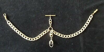 gold coloured albert pocket watch chain,chunky with t-bar and clips ,fob.