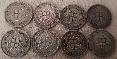 George VI Three Pence 1937-1944 Full Year Run 8 Silver Coins Set Lot 1