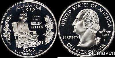 2003 S 90% Silver Alabama State Quarter Deep Cameo Gem Proof No Reserve 2003 Alabama State Quarter