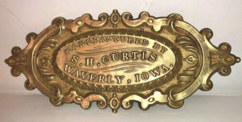 Antique BRASS ADVERTISING FURNITURE PLAQUE.  S.H. CURTIS WAVERLY, IOWA.   SMALL