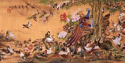 100% ORIENTAL ASIAN FINE ART CHINESE WATERCOLOR PAINTING-Phenix birds&flowers