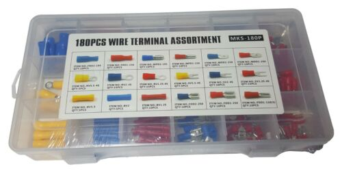 180 PIECES INSULATED ELECTRICAL WIRE TERMINAL CRIMP CONNECTOR ASSORTMENT SET KIT