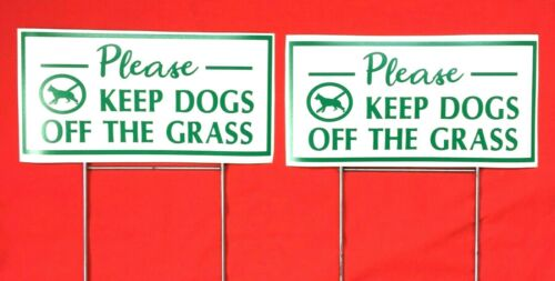 "2 Keep Dogs off the Grass lawn signs  12"" X 6"" green/white"