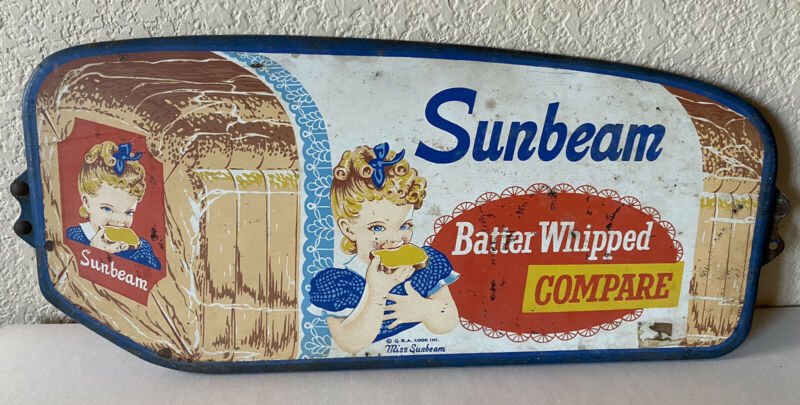 Vintage Miss Sunbeam Bread Batter Whipped Push Sign Metal Door Original 50's