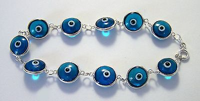 Silver Turkish Lucky Evil Eye Protection Bracelets - .925 Silver  (Lucky Evil Eye Protection)