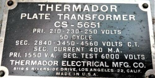 1 THERMADOR PLATE  TRANSFORMER 210-230-250 V  @ SEC 2840 - 3450 - 4560 VOLT  C.T