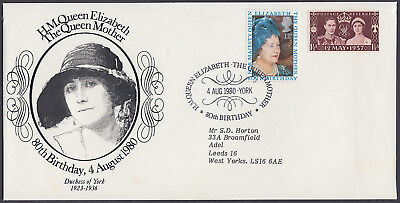 1980 Queen Mother 80th Birthday Sumner Collection FDC; York SHS