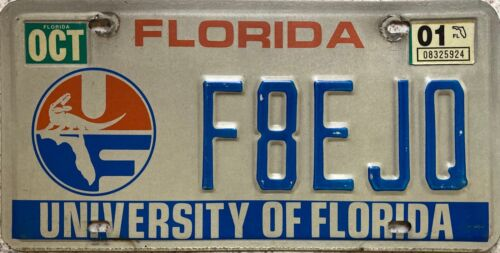 University of Florida American License Licence USA Number Plate Tag F8EJQ