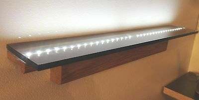 "20"" Long led Lighted Wall Display OAK SHELF Remote control Battery wall shelf"