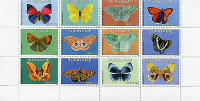 Suriname 2015 MNH Butterflies 12v Block Set Insects Vlinders Stamps