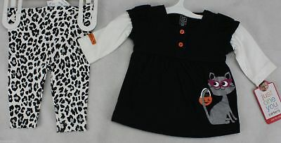 Halloween Infant Carter's Black White Shirt Leotard Pants Cat Size Newborn NWT