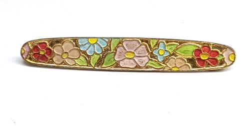 Art Nouveau Floral enamel brooch bar.
