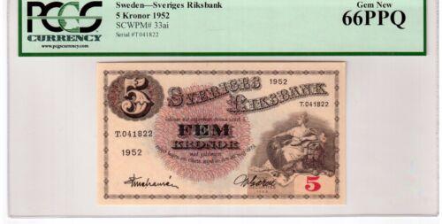 """Sweden 5 Kronor Banknote 1952 Pick# 33ai PCGS Currency GEM UNC 66 PPQ """"Vintage"""""""