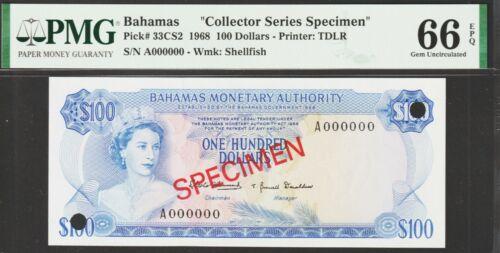 "Bahamas Islands,100 Dollars Banknote""Specimen""1968 Gem Uncirculated-66 P#33/CS2"