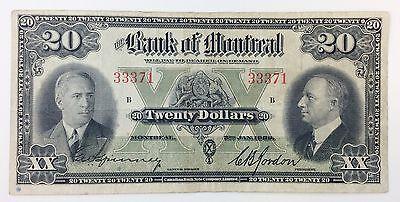 1938 Bank Of Montreal 20 Dollar Circulated Canadian Bank Note Company