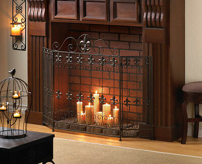 FRENCH REVIVAL FIREPLACE SCREEN FLEUR DE LIS EMBELLISHED IRON NEW~10015400