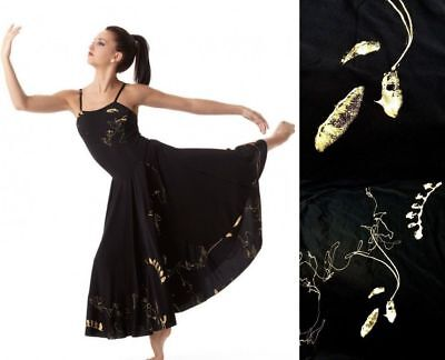 Inspiration Dance Costume Black Camisole Dress Gold Foil Lyrical New Child -