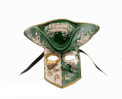 Mask Casanova from Venice Bauta Green Carnival Venetian Authentic V45 867