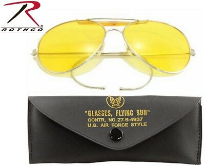Yellow Lense US Air Force Style Military Sunglasses With Case 58mm 10200 (Air Force Style Sunglasses)
