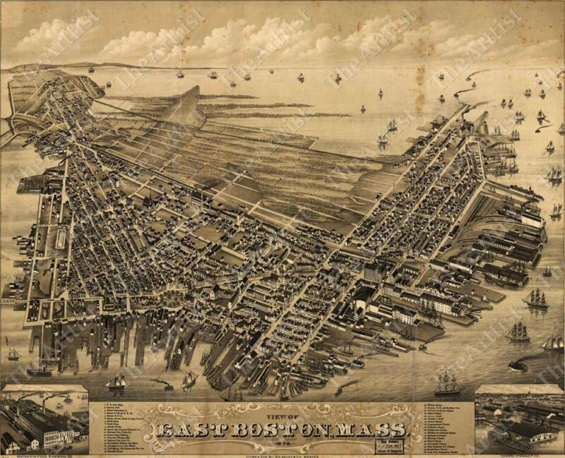 HUGE VINTAGE historical EAST BOSTON MASS 1879 OLD WORLD ANTIQUE STYLE MAP print