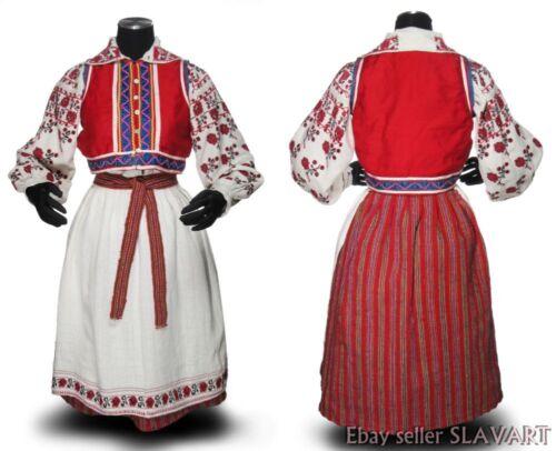 ANTIQUE Ukrainian Folk Costume embroidered linen dress apron wool skirt POLISSYA