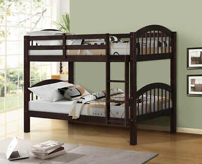 Twin Over Twin Wood Bunk Beds W/Ladder & Safety Rail Pine Wood Bunk Bed