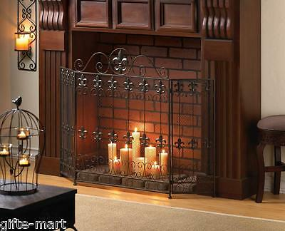 FRENCH country folding 3 panel IRON hearth portable mesh fir