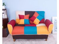 SALE! Adjustable Back Colorful Patchwork Fabric Sofa Loveseat Couch 2 Seater Sofa 2 Pillows