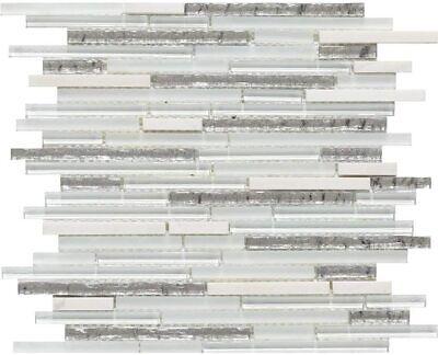 Mosaic Tile Backsplash Kitchen Shower Wall, White Crystal Glass Stone Polished