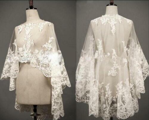 Lace Tulle Wedding Cape Shawl White/Ivory Bridal Shrug Cloak Shrug Tops Jacket