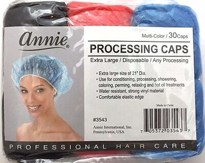BRAND NEW ANNIE EXTRA LARGE 3-COLOR DISPOSABLE PROCESSING CAPS #3543 30caps