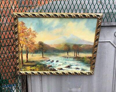 Vintage large oil painting in gold gilt frame, signed